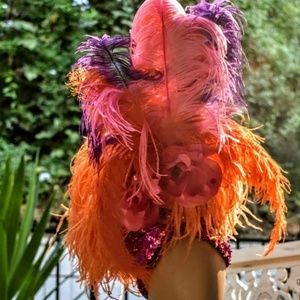 Vintage feather turban headpiece with matching can